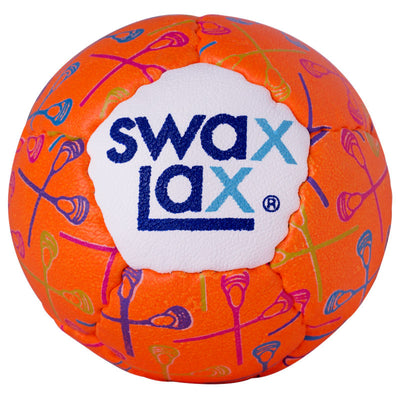 Swax Lax lacrosse training ball with multi-colored lacrosse sticks