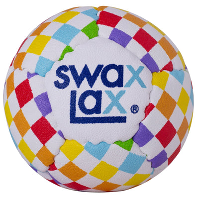 Swax Lax lacrosse training ball - Rainbow Check pattern - front view
