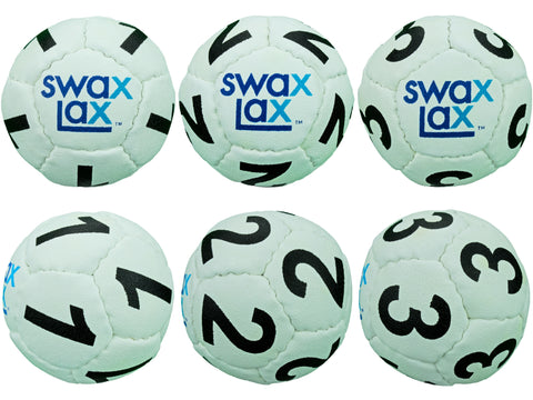 White Swax Lax Lacrosse Goalie Training Balls, Numbers 1-3