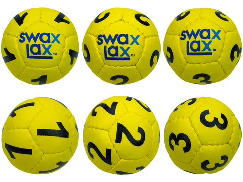 Yellow Swax Lax Lacrosse Goalie Training Balls, Numbers 1-3