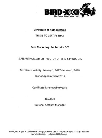 Bird X Products Certification