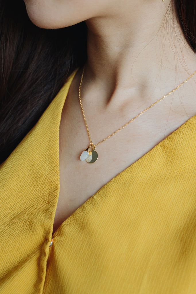 Petite moonstone drop necklace