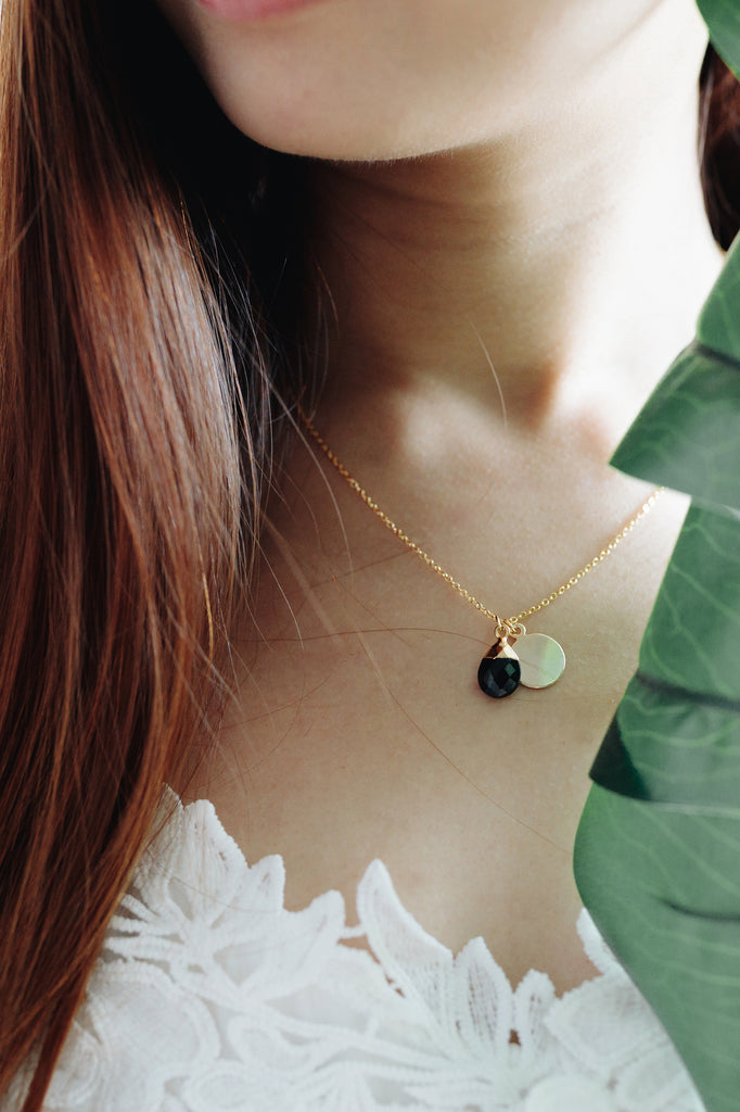 Petite spinel drop necklace