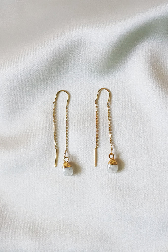 Moonstone Thread Earrings