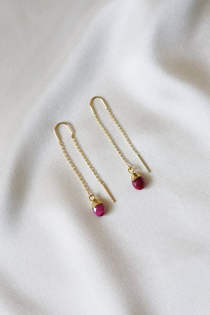 Ruby Thread Earrings