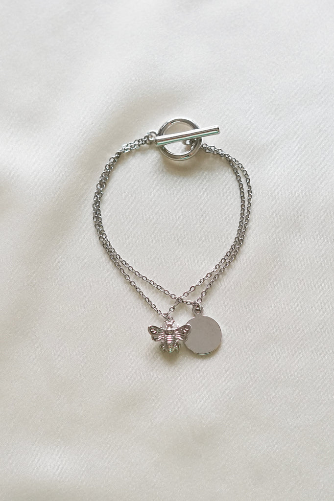 Bee happy bracelet in Silver