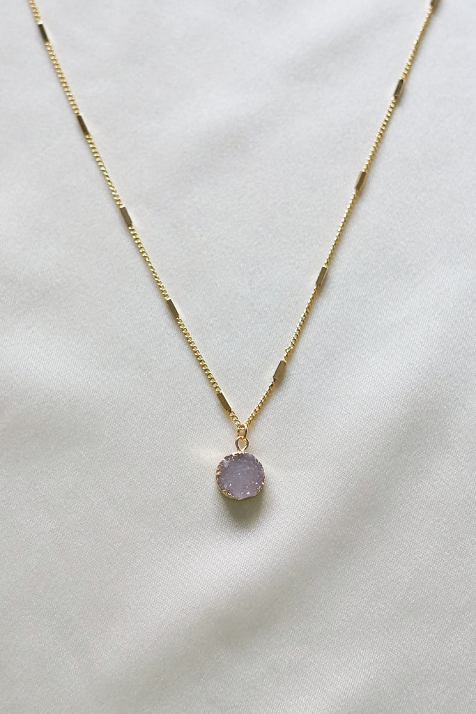 Lavender Druzy Necklace