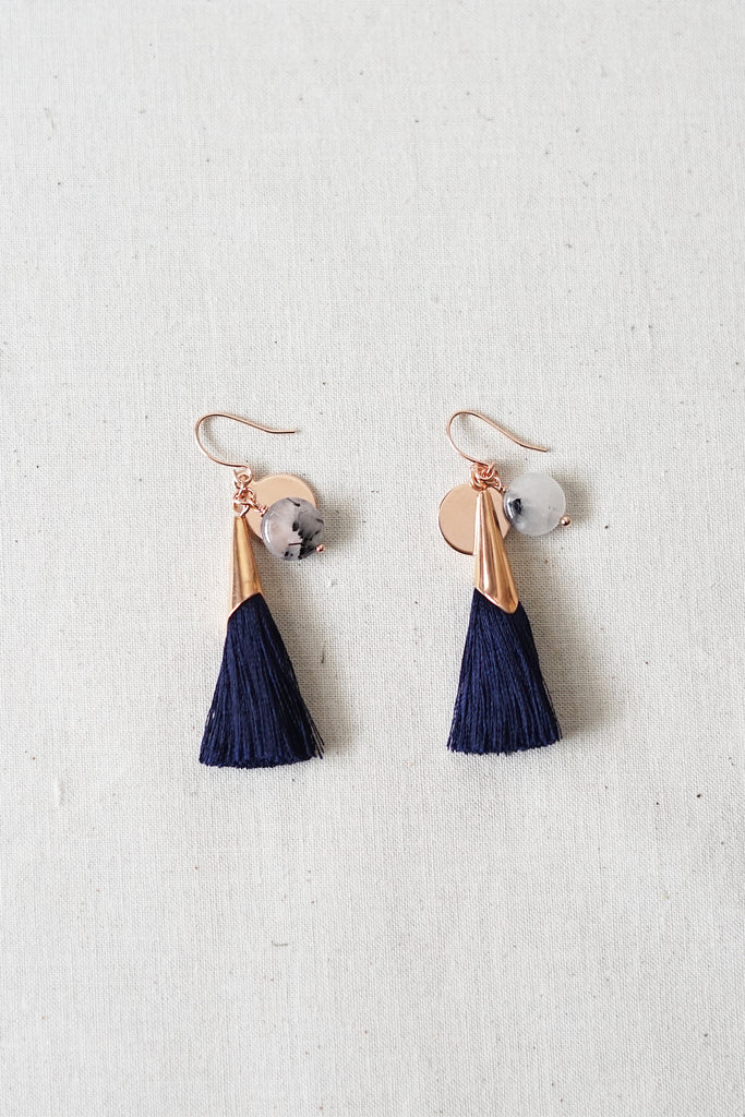 Rutilated Quartz Tassel Earrings