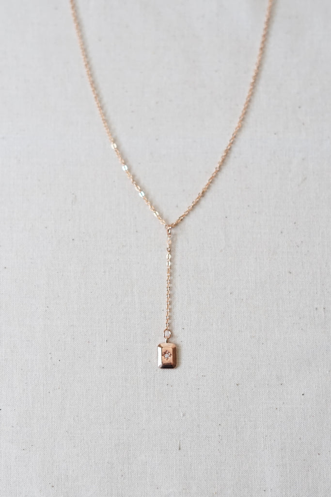 Rose Gold Lariat Necklace