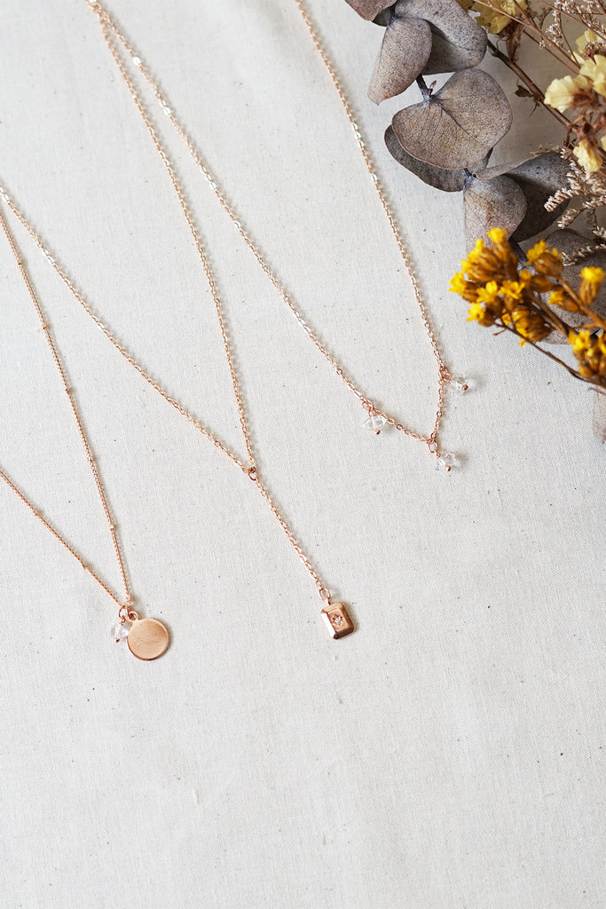 Rose Gold Herkimer Necklace