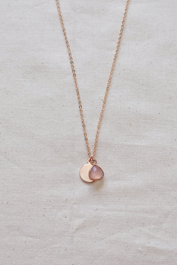 Pink Chalcedony Rose Gold Necklace
