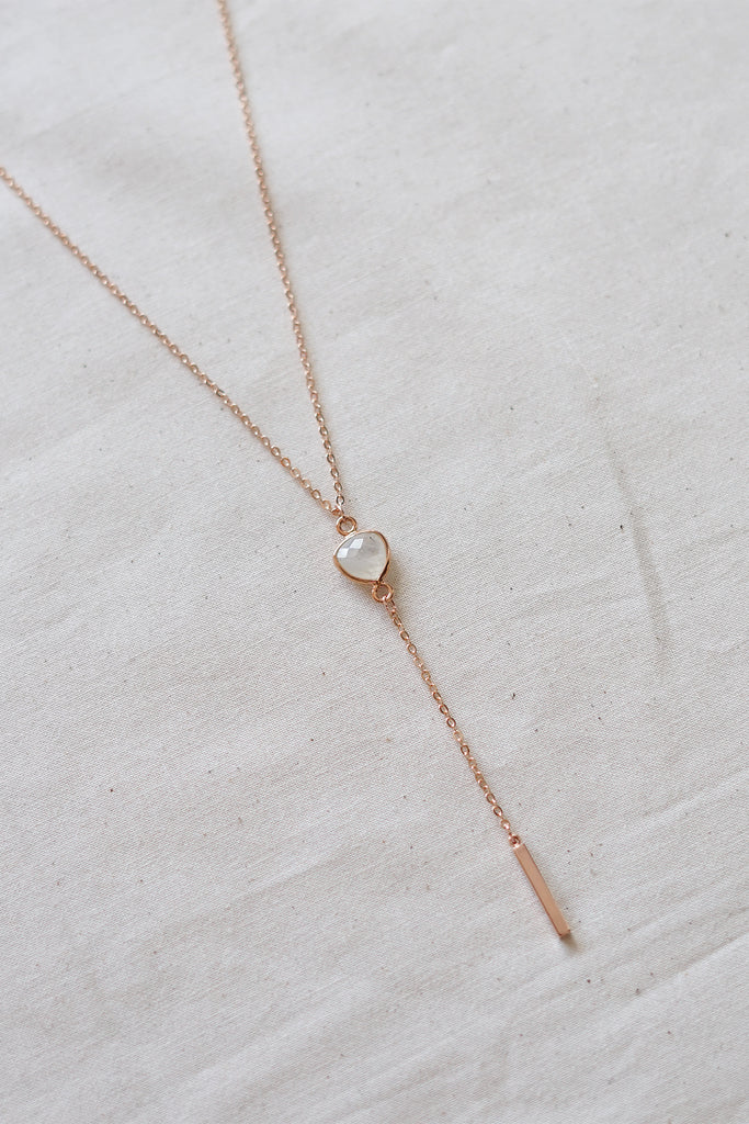 Moonstone Rose Gold Lariat Necklace