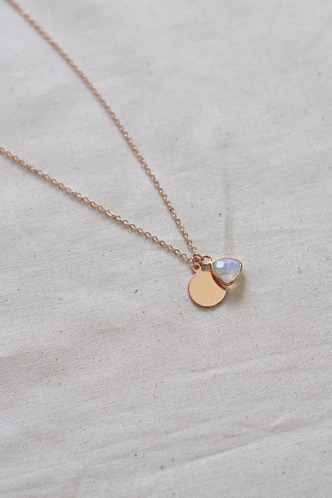 Moonstone Rose Gold Necklace