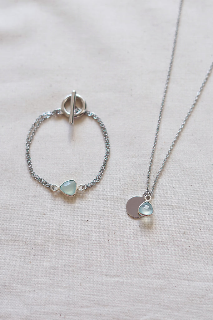 Aqua Chalcedony Silver Necklace