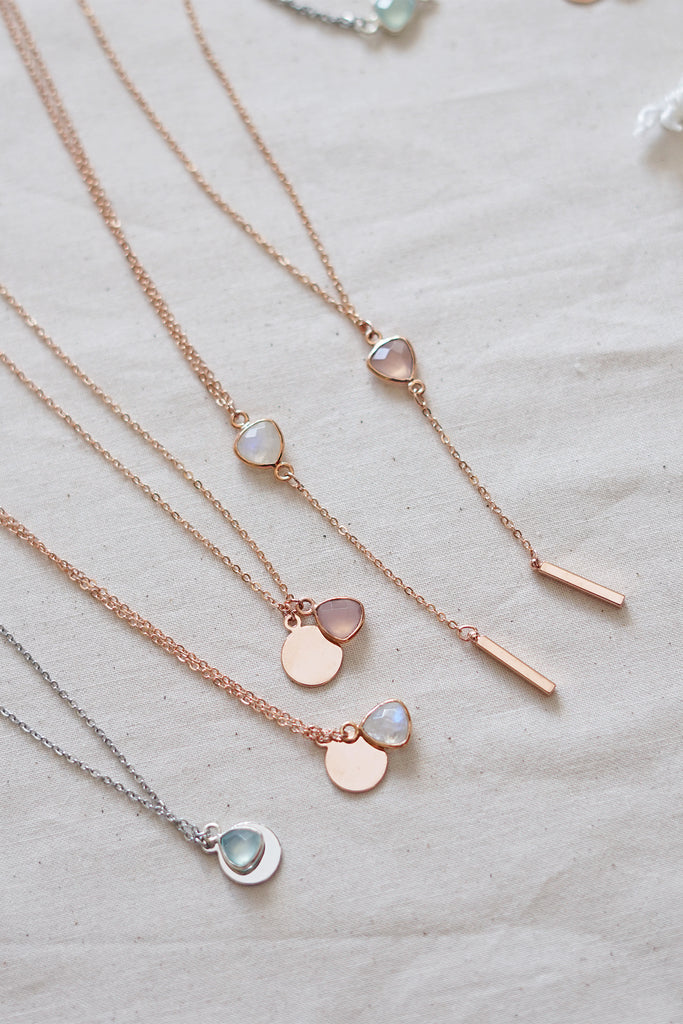 Pink Chalcedony Rose Gold Lariat Necklace