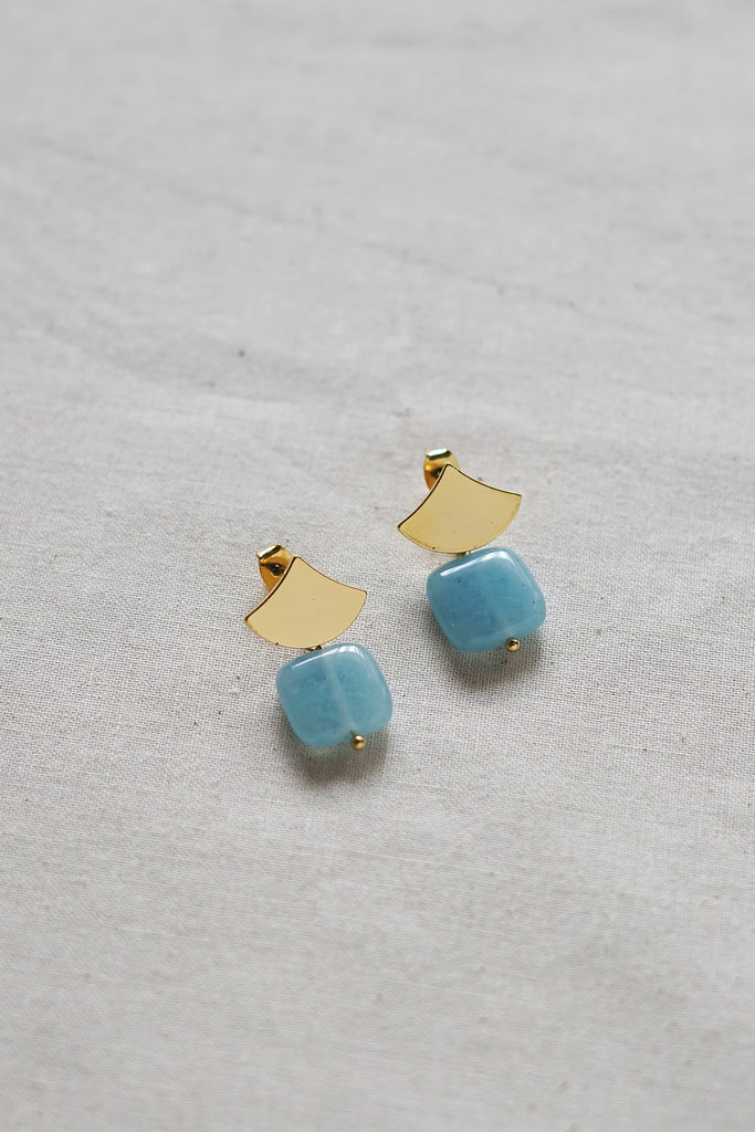 Aquamarine Fan Earrings