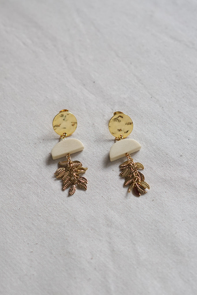 Leafy Geometric Wood Earrings
