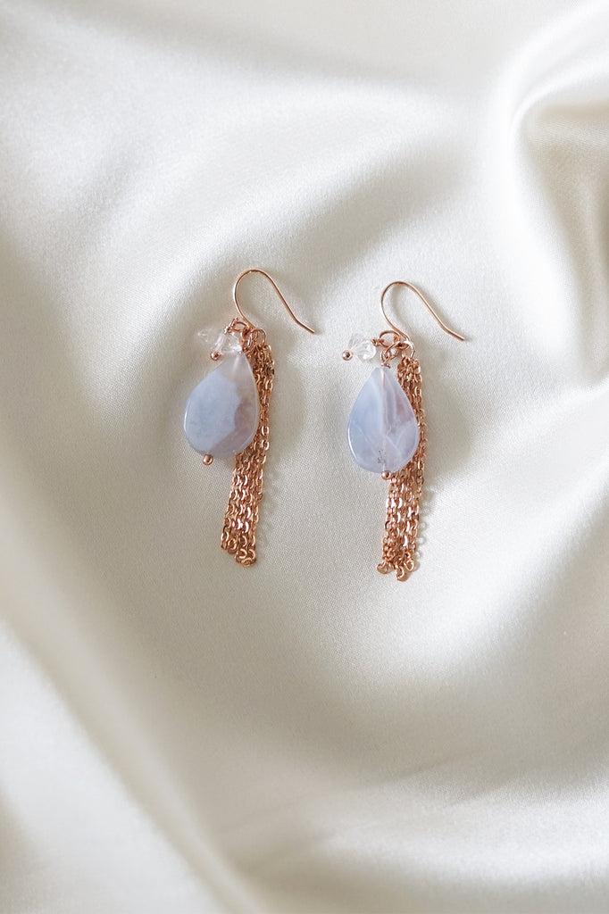 Lace Agate x Herkimer Diamond Earrings