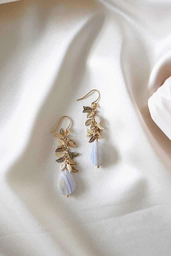 Teardrop Lace Agate Earrings