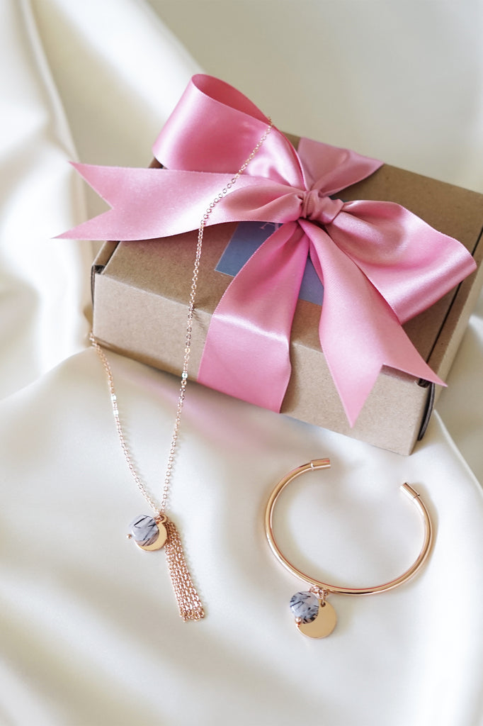 Engraveable Rose Gold Tassel Necklace with Rutilated Quartz