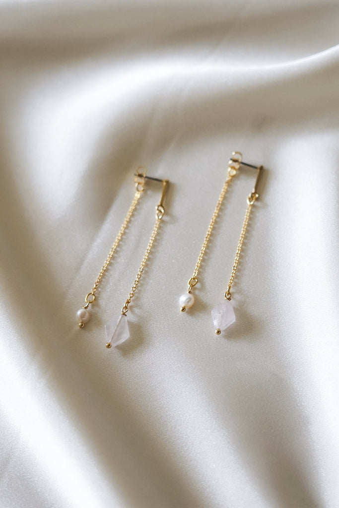 Bar Studs with Rose Quartz Drop Pendant