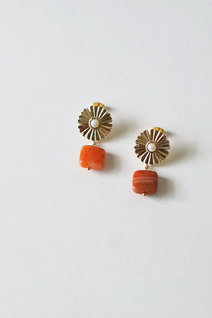 Fleurette Orange Agate Earrings