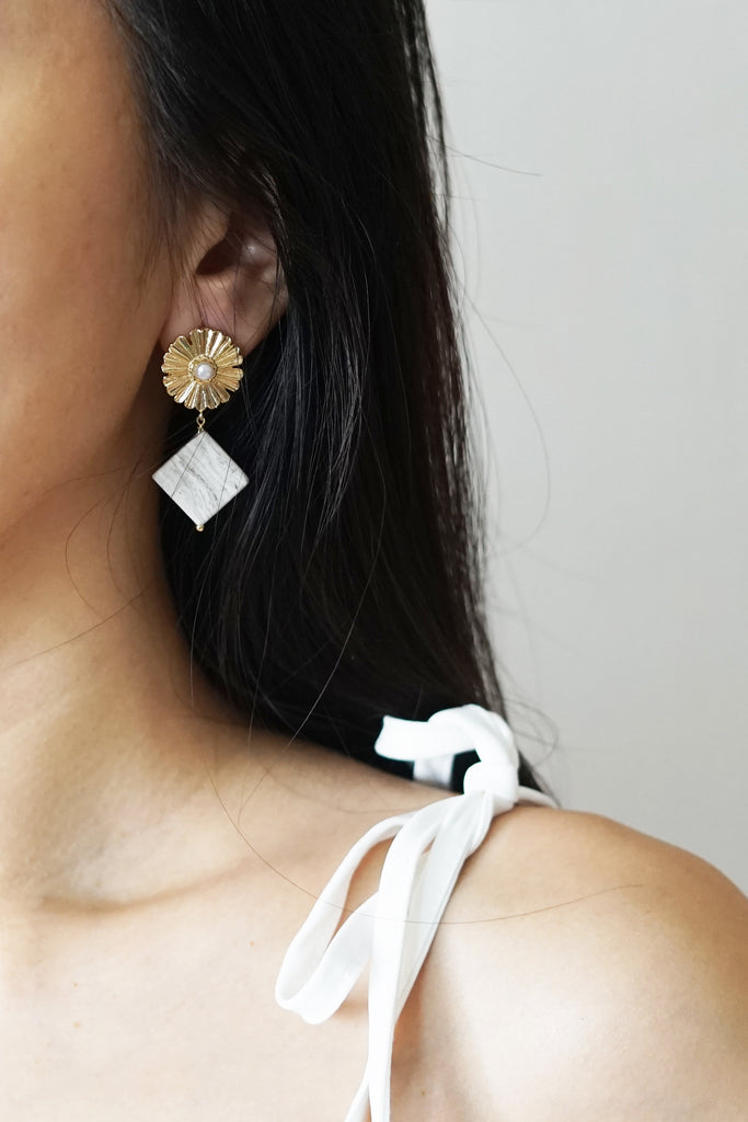 Fleur Marble Earrings