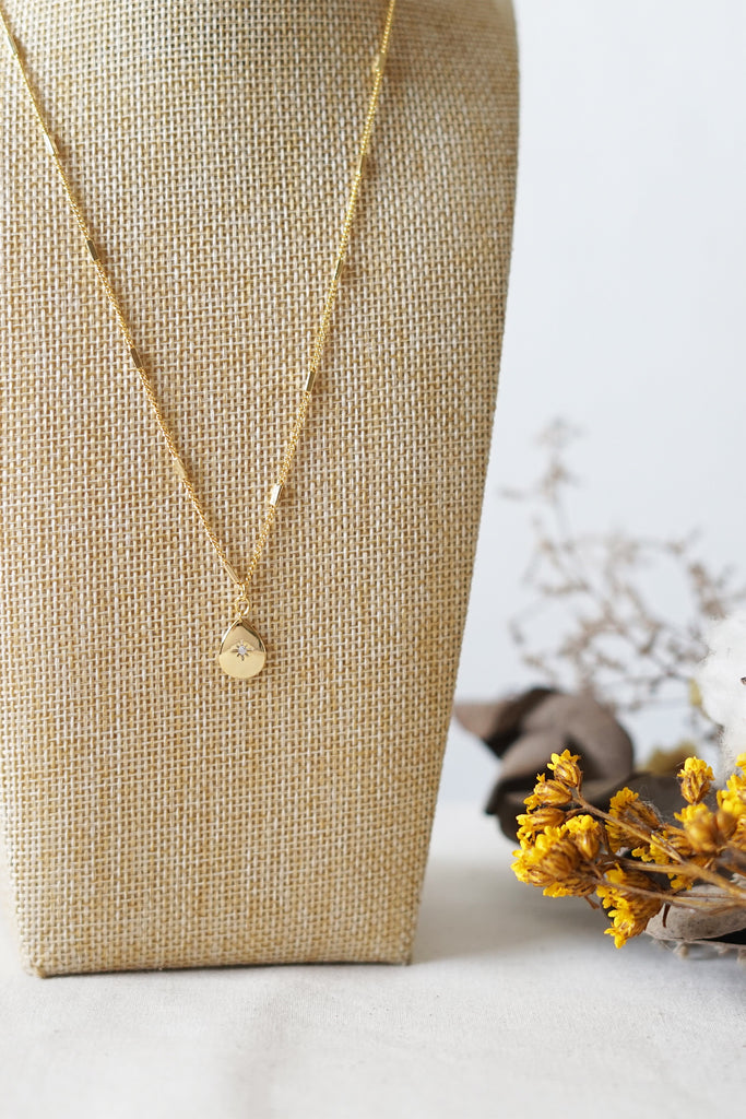 Teardrop Cubic Necklace in Gold