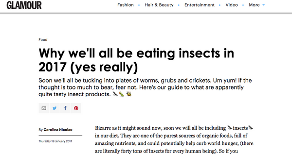 GLAMOUR Magazine - Why we'll all be eating insects in 2017 (yes really)