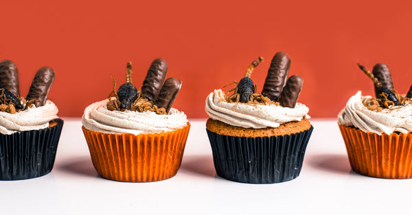 Cricket Flour + Pumpkin Spiced Halloween Cupcakes with Scorpions