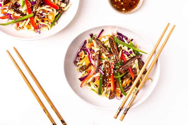 Asian Style Crispy Noodle Salad with Locusts