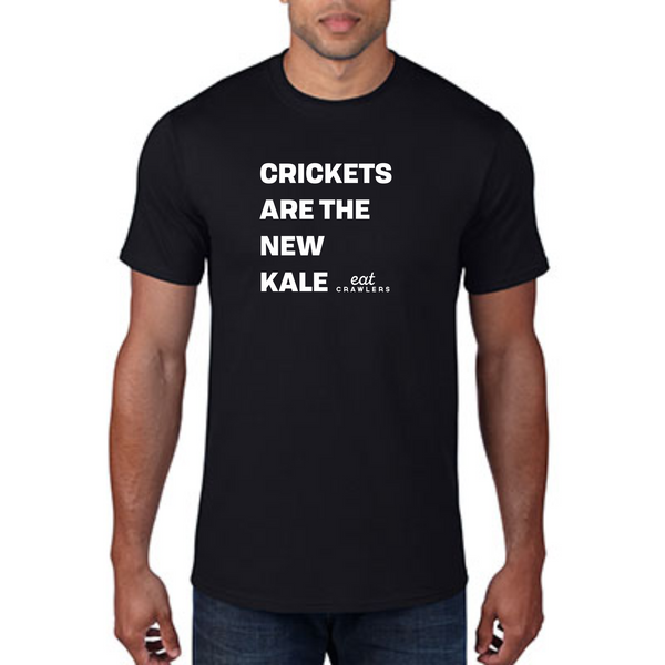 "Eat Crawlers cotton ""Crickets are the new kale"" MENS t-shirt"