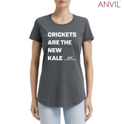 "Eat Crawlers cotton ""Crickets are the new kale"" LADIES t-shirt"