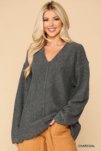 V-neck Solid Soft Sweater Top With Cut Edge - Shalaunie's Closet