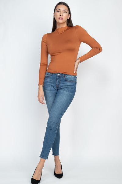 Mock Neck Basic Long Sleeve Top - Shalaunie's Closet
