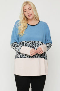 Plus Size Color Block Top Featuring A Leopard Print Top - Shalaunie's Closet
