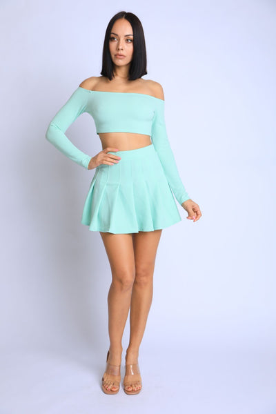 Off Shoulder, Skater Skirt Set - Shalaunie's Closet