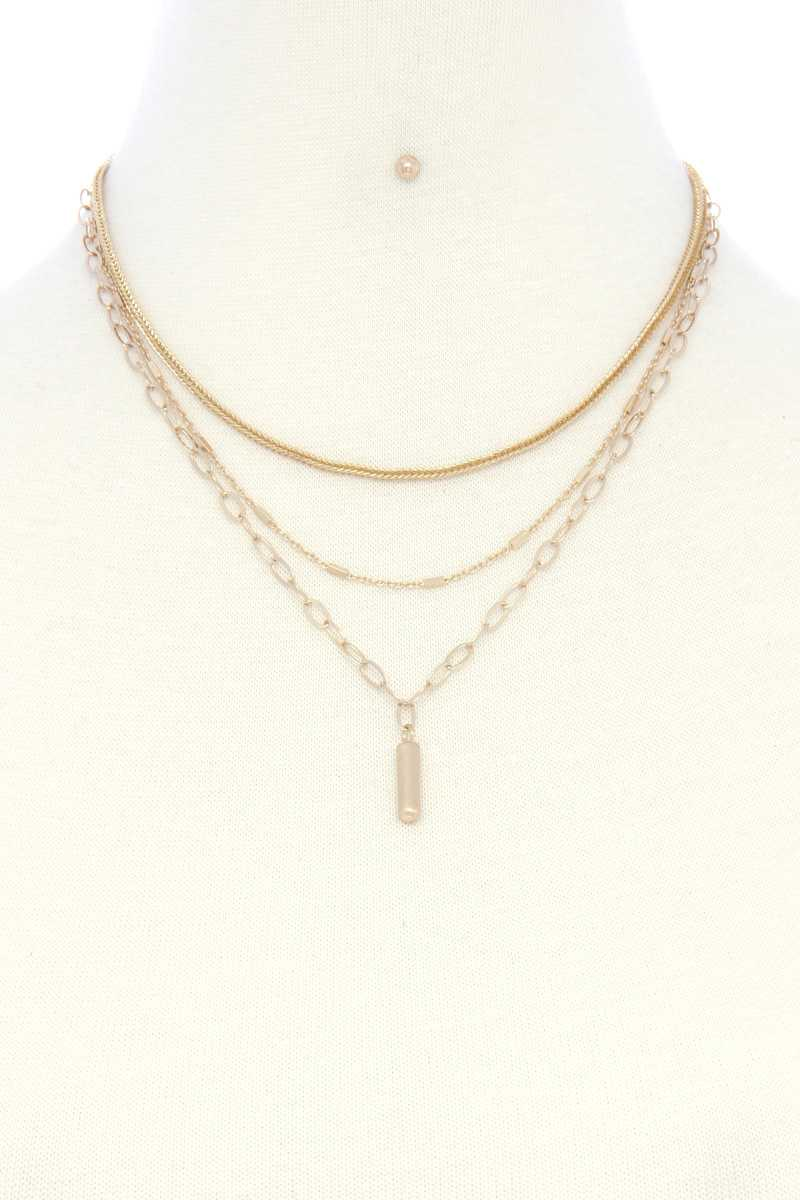 Metal Bar Oval Link Layered Neclace - Shalaunie's Closet
