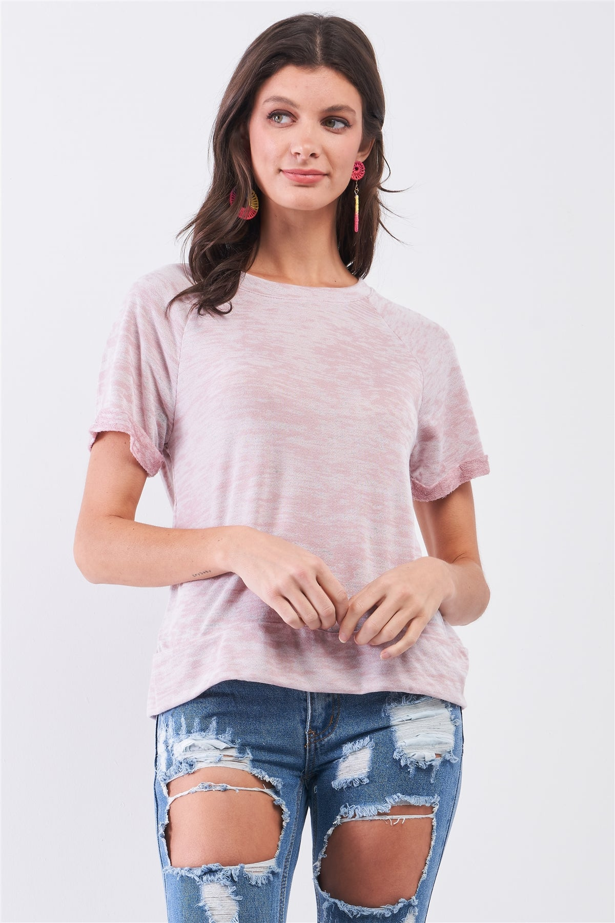 Short Folded Sleeve Round Neck Relaxed Fit T-shirt Top - Shalaunie's Closet