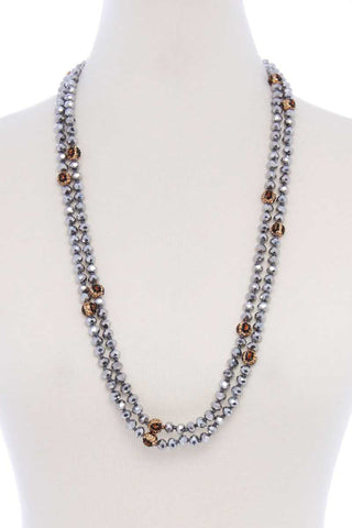 Glass Bead 2 Layered Long Necklace - Shalaunie's Closet