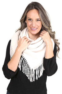 Solid Color Blanket Scarf With Fringes - Shalaunie's Closet