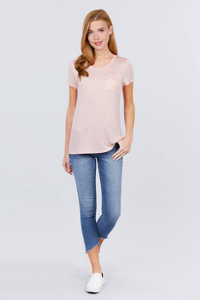 Short Sleeve Scoop Neck Top With Pocket - Shalaunie's Closet