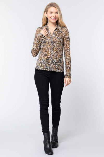 V-neck Print Mesh Knit Shirt - Shalaunie's Closet