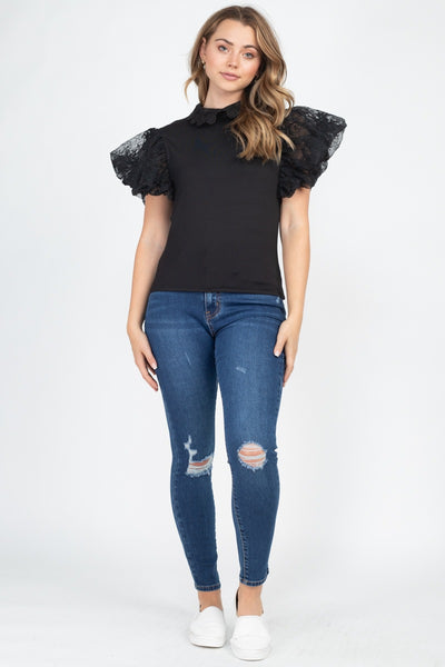 Solid Lace Puff Sleeves Top - Shalaunie's Closet