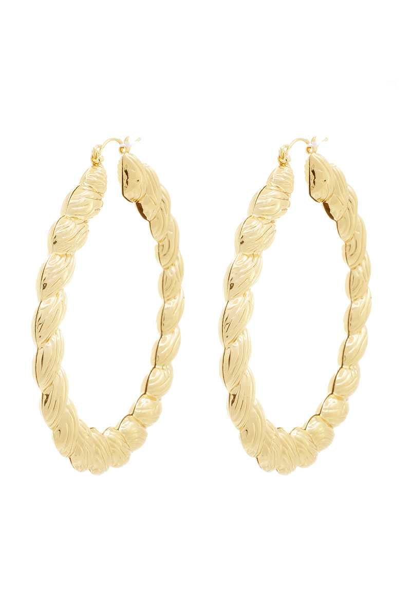 Chunky Metal Twist Shape Hoop Earring - Shalaunie's Closet