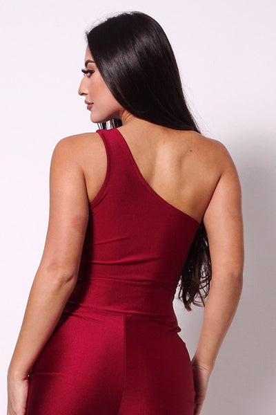 Sleeveless One Shoulder Bustier Crop Top - Shalaunie's Closet