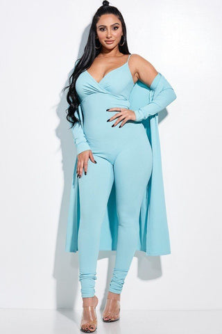Solid Rib Knit Spaghetti Strap Jumpsuit And Duster Two Piece Set - Shalaunie's Closet