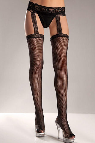 Black Nylon Striped Mesh Thigh Highs - Shalaunie's Closet