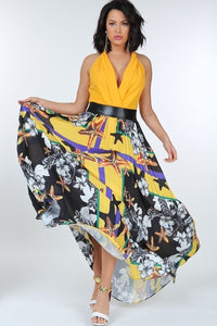 Pleated Print Maxi Skirt With Leather Waist Band - Shalaunie's Closet