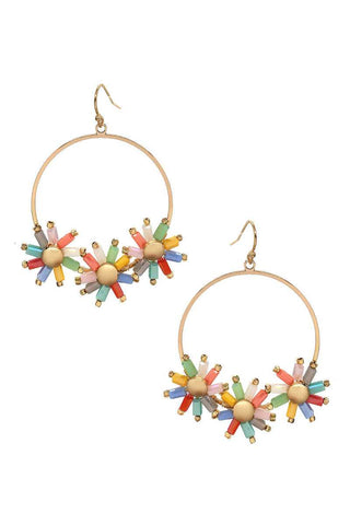 Flower Color Stone Hook Earring